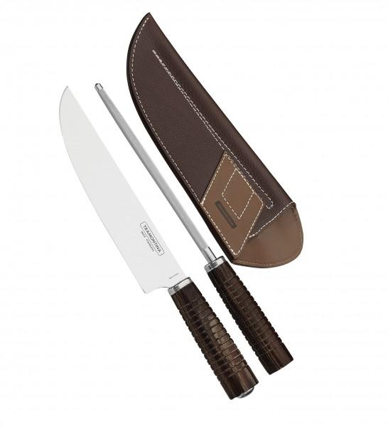 Fleischmesser mit Wetzstahl und Leder-Etui